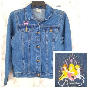 DISNEY Denim Jacket Princess Embroidery Jean Large